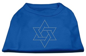 Star of David Rhinestone Shirt Blue XXL (18)