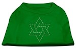 Star of David Rhinestone Shirt Emerald Green XS