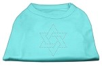Star of David Rhinestone Shirt Aqua XS