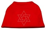 Star of David Rhinestone Shirt Red XS