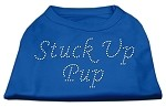 Stuck Up Pup Rhinestone Shirts Blue Med
