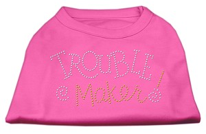 Trouble Maker Rhinestone Shirts Bright Pink XXXL(20)