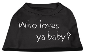Who Loves Ya Baby? Rhinestone Shirts Black XXXL(20)