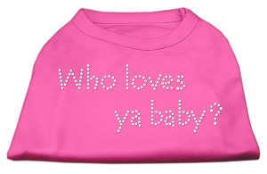 Who Loves Ya Baby? Rhinestone Shirts Bright Pink XL (16)