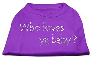 Who Loves Ya Baby? Rhinestone Shirts Purple M (12)