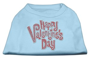 Happy Valentines Day Rhinestone Dog Shirt Baby Blue Sm (10)