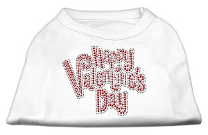 Happy Valentines Day Rhinestone Dog Shirt White Med (12)