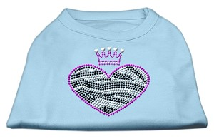 Zebra Heart Rhinestone Dog Shirt Baby Blue XS (8)