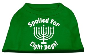 Spoiled for 8 Days Screenprint Dog Shirt Emerald Green Sm (10)