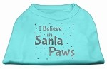 Screenprint Santa Paws Pet Shirt Aqua XS (8)