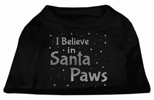 Screenprint Santa Paws Pet Shirt Black XS