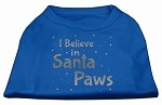 Screenprint Santa Paws Pet Shirt Blue XS (8)