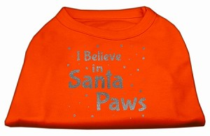 Screenprint Santa Paws Pet Shirt Orange XXL
