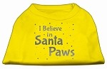 Screenprint Santa Paws Pet Shirt Yellow XS (8)