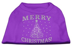 Shimmer Christmas Tree Pet Shirt Purple XL (16)