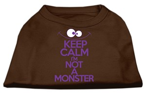 Keep Calm Screen Print Dog Shirt Brown XL (16)