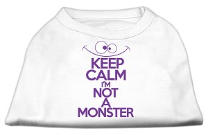 Keep Calm Screen Print Dog Shirt White Sm (10)