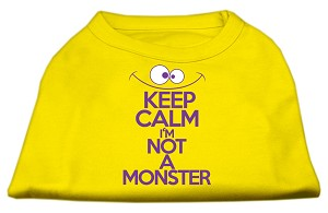 Keep Calm Screen Print Dog Shirt Yellow Lg (14)