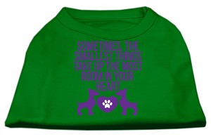 Smallest Things Screen Print Dog Shirt Green Sm