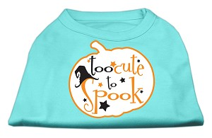 Too Cute to Spook Screen Print Dog Shirt Aqua XS