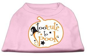 Too Cute to Spook Screen Print Dog Shirt Light Pink Lg