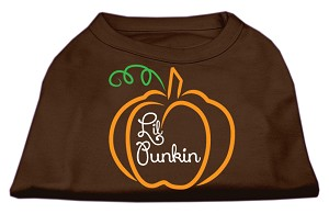 Lil Punkin Screen Print Dog Shirt Brown XS