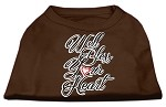 Well Bless Your Heart Screen Print Dog Shirt Brown Med (12)