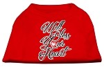 Well Bless Your Heart Screen Print Dog Shirt Red XS (8)