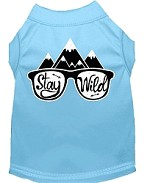 Stay Wild Screen Print Dog Shirt Baby Blue Med (12)