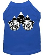 Stay Wild Screen Print Dog Shirt Blue Med (12)