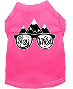 Stay Wild Screen Print Dog Shirt Bright Pink Med (12)