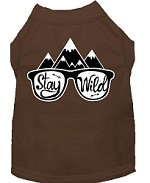 Stay Wild Screen Print Dog Shirt Brown Med (12)