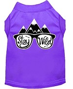 Stay Wild Screen Print Dog Shirt Purple Med (12)