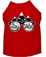 Stay Wild Screen Print Dog Shirt Red XS (8)