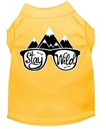 Stay Wild Screen Print Dog Shirt Yellow Med (12)