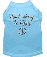Be Hippy Screen Print Dog Shirt Baby Blue XS (8)