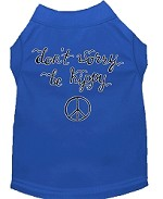 Be Hippy Screen Print Dog Shirt Blue XS (8)