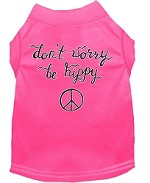 Be Hippy Screen Print Dog Shirt Bright Pink XS (8)