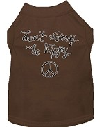 Be Hippy Screen Print Dog Shirt Brown XS (8)