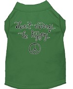 Be Hippy Screen Print Dog Shirt Green XS (8)