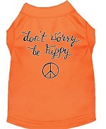 Be Hippy Screen Print Dog Shirt Orange XS (8)