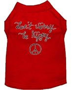 Be Hippy Screen Print Dog Shirt Red XS (8)
