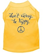 Be Hippy Screen Print Dog Shirt Yellow XS (8)