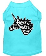 Born to be a Unicorn Screen Print Dog Shirt Aqua XS (8)