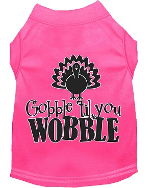 Gobble til You Wobble Screen Print Dog Shirt Bright Pink XS