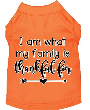 I Am What My Family is Thankful For Screen Print Dog Shirt Orange XXL