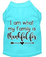I Am What My Family is Thankful For Screen Print Dog Shirt Aqua XS