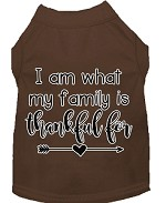 I Am What My Family is Thankful For Screen Print Dog Shirt Brown XS