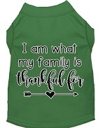 I Am What My Family is Thankful For Screen Print Dog Shirt Green XS