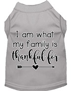 I Am What My Family is Thankful For Screen Print Dog Shirt Grey XS